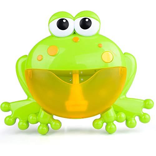 MMLC Badespielzeug Frösche Bubble Maker Machine, Seifenblasen Seifenblasenmaschine Automatisiertes Auslauf Krabben Bad Bubble Spielzeuggeschenk mit 12 Kinderlied für Jungen, Mädchen (Green)