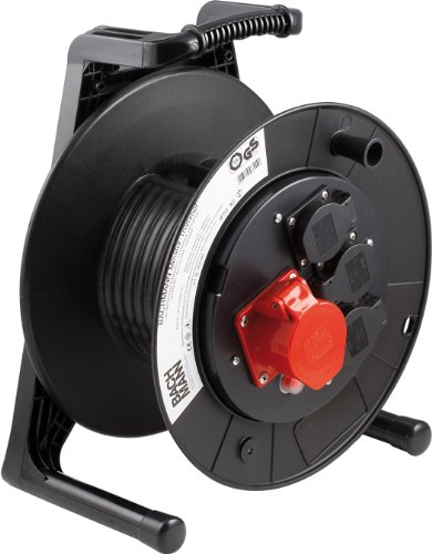 Bachmann 399.007 lege trommel 3-voudig en 1 x CEE 25 m met thermische beveiliging, zwart