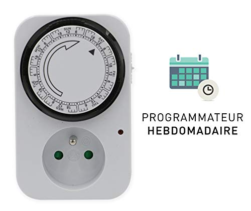 Tibelec 562210 Zeitschaltuhr, Wochenschaltung, kompakte Mechanik, Weiß