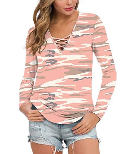 Feiersi Women's Fall Long Sleeve V-Neck T-Shirt Tunic Tops Criss Cross Casual Blouse Shirts