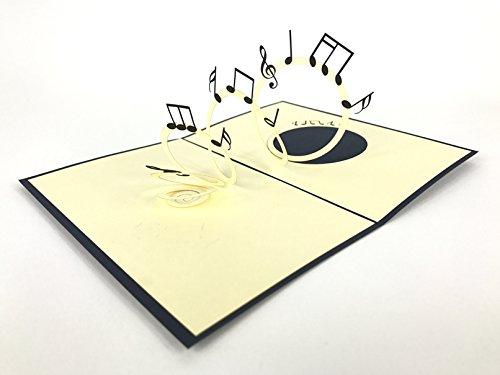 Music Notes 3D Pop up Grußkarte handgefertigt Happy Birthday Hochzeitstag Freundschaft Frohe Weihnachten Thanksgiving Thank You Best Wish Viel Glück Happy New Year Valentine 's Day rot