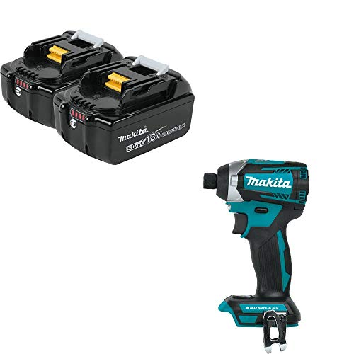 Makita BL1850B-2 18V Battery 2 Pk & Makita XDT14Z 18V Q-Shift 3-Spd Imp Driver