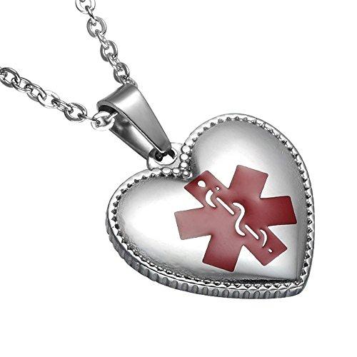 LiFashion LF Frauen 316l Edelstahl Ice SOS Notfall personalisierte benutzerdefinierte medizinische Alert Halskette Herz ID Tag Anhänger Silber, kostenlose Gravur angepasst