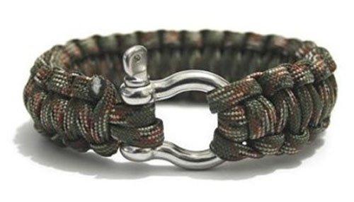 Paracord 550 braccialetto di sopravvivenza con acciaio inossidabile colpo Grillo - Olive Gree ...