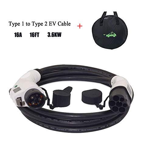 K.H.O.N.S. - Cable de carga - Tipo 1 a Tipo 2 - 16A - 5 Metros - Cable y Bolsa