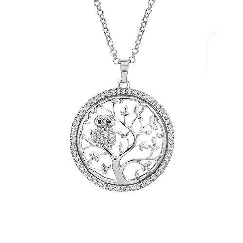 YOYOMA Tree of Life Necklace for Women,Owl Pendant Necklace Long Chain Necklace with CZ Crystal for Girls Gift (Silver Plated Tree of Life with Owl)