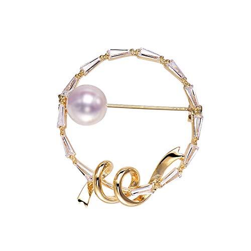 xiaokeai Mujer Broches Broches de Alta Gama, síntesis Brillante Broches de circonia cúbica de Zirconia Personalizados Pin de Corsage de Perlas (Plata/Oro) JoyeríA De Moda (Color : B)