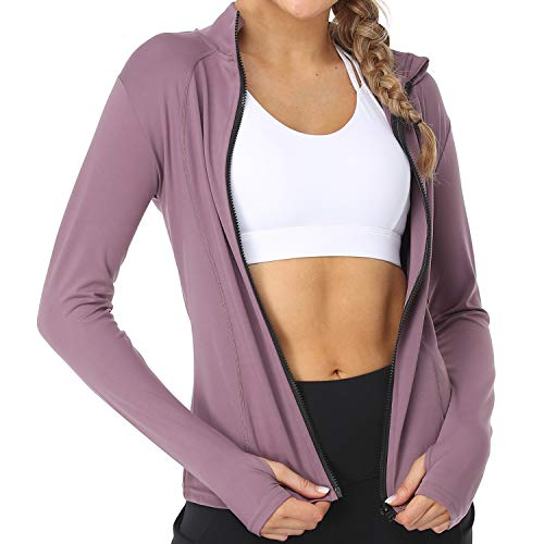 Cordaw Women's Full Zip Track Jacket Workout Lightweigh Sport Sweater with Thumb Holes Long Sleeve (Moderate Purple, Medium)