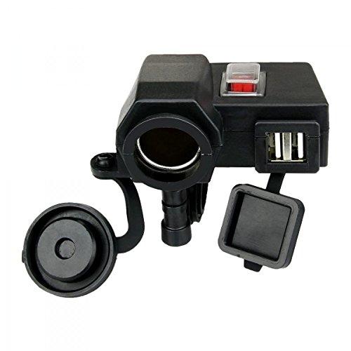 motocitytm impermeable doble 5V Dual USB Phone GPS de carga 12V Motocicleta Cargador De Encendedor con interruptor Socket de puerto de alimentación Integración de moto manillar Soporte construido en Fusible