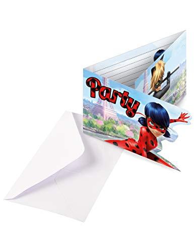 Generique - 6 Ladybug Einladungskarten mit Umschlägen