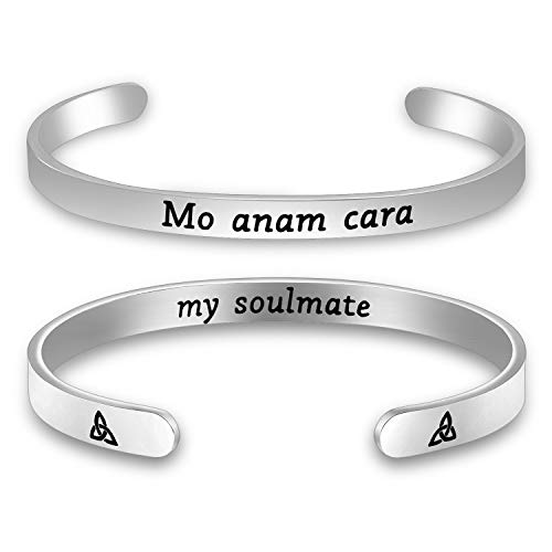 Mo ANAM Cara Bangle Iris Celtic Soul Mate Gift (Cuff silver)