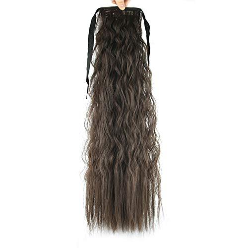 JUNGEN Perruque prêle longue Cheveux Perruque queue de cheval Couleur épais ondulés bouclés cheveux avec band Perruques Extensions 55cm (A4)