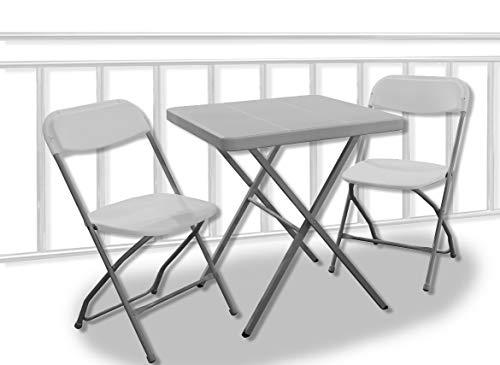 Trendyshop365 Balkonmöbel Set 3tlg Tisch 68x68cm exklusiv faltbar Sitzgruppe für Wohnung Garten Camping Urlaub
