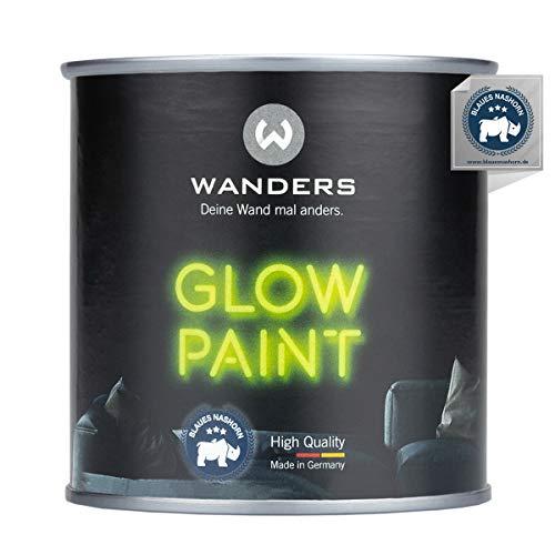 Wanders® 250ml fluoreszierende Leuchtfarbe - außergewöhnlich starke Leuchtfarben nachtleuchtend ungiftig - Glow Paint - Made in Germany
