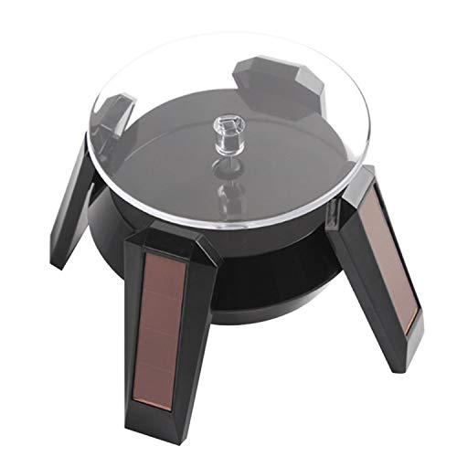 Vococal Tableau Rotatif actionné Solaire Rotatif de présentoir de présentoir de 360 degrés avec la lumière de LED pour des Bijoux de téléphones Observe Le Noir de cosmétiques