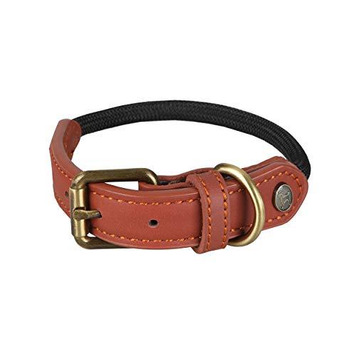 Michur Sherpa Black Stone, Hundehalsband Leder Verstärkung und Tau, Rund mit Polyamidkern und aus Nylon geflochten,Halsband für Hunde in verschieden Größen erhältlich.