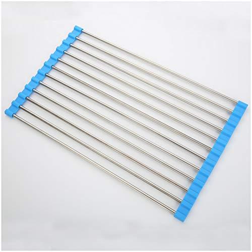GAOJIAN Escurreplatos Enrollable,Tendedero de Platos Ajustable de Acero Inoxidable, Escurridor Platos Escurridor de Fregadero Multipropósito Roll up Dish Drying Rack Blue