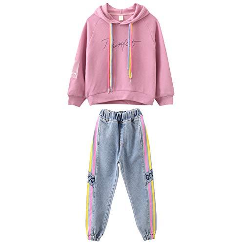 amropi Niña Chándales Sudadera con Capucha y Pantalones Vaqueros 2 Piezas Conjunto de Ropa Rosa Azul,7-8 años