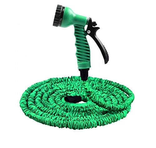 BMCC - Manguera extensible de jardín – 10 – 30 m con pistola 7 funciones chorros de agua – para riego de jardín de goma y tela con adaptador