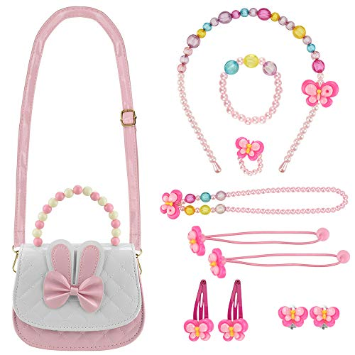 DECARETA Schmuckset Mädchen Kinder Handtasche mit Halskette Kinderschmuck Kleine Mädchen Handtasche mit Halskette Armband Ring Party Dress Up für Mädchen