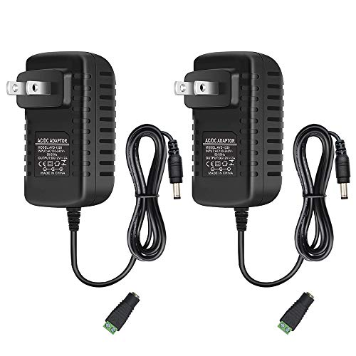 12V 2A LED Power Supply, 24W AC Adapter, 100-240V AC to 12V DC Transformer for LED Strip Lights, Wall Plug Power Adapter with 5.5/2.1 DC Female Barrel Connector (2 Pack)