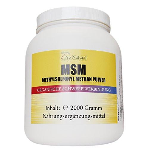 MSM Pulver | 2Kg | Organischer Schwefel pur 99,92{e080686c55f490323d965c496b004149575c82628e21c89cf2dd54090406a3be} rein | UV-Lichtgeschützt - Standbeutel | Gelenke Bewegungsapparat Leistungsfähigkeit | Vegan Methylsulfonylmethan