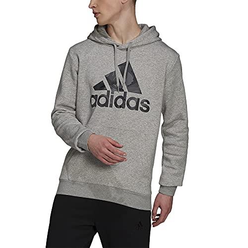adidas Men's Standard Essentials Hooded Sweatshirt, Medium Grey Heather, Large