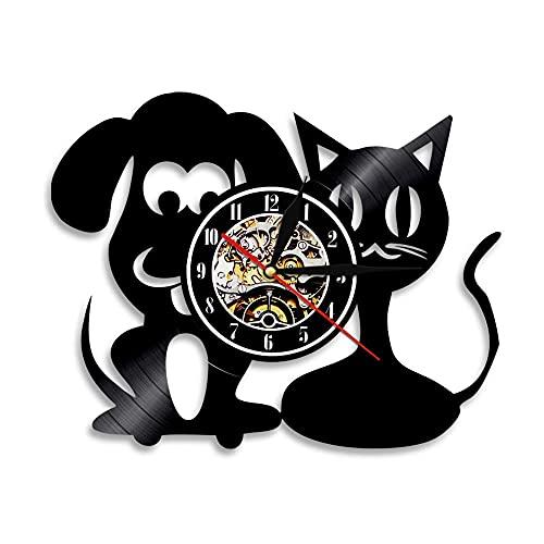 Usmnxo Reloj de Pared de la clínica Mascotas Gatos y Perros Disco de Vinilo de Animales Reloj de Pared decoración del hogar decoración de la Sala de Estar Regalo con lámpara 12 Pulgadas (30 cm)