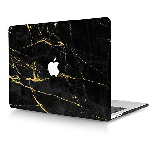 AJYX Compatible with MacBook Pro 13 inch Case 2020 2019 2018 2017 2016 Release A2338 M1 A2289 A2251 A2159 A1989 A1706 A1708, Print Pattern Plastic Protective Hard Shell Case, Black & Gold Marble