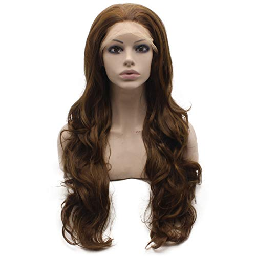Mxangel 26inch Long Wavy Deep Parting 136 Hand Tied Highlight Brown Synthetic Lace Front Wig Natural