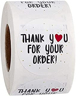 """Rubik Label Stickers, 1"""" Round Thank You for Your Order Sticker Black Font and Red Heart for Order Packaging, 500 Labels p..."""