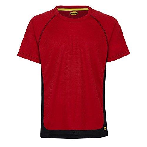 Diadora - Maglietta sportiva da trekking, taglia XL, colore: rosso/nero
