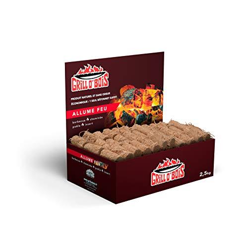 Allume feu écologique 2.5kg Grill O Bois Allumes feu naturels et économiques pour Barbecue, cheminée, poêle, Insert