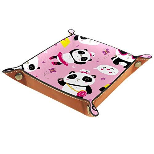Amili - Bandeja de joyería de piel sintética para hombres y mujeres, bandeja para llaves y dados, soporte de escritorio para llaves, monedas, teléfonos, monederos, joyas, sobre rosa y panda