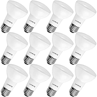 Luxrite BR20 LED Bulb, 45W Equivalent, 4000K Cool White, Dimmable, 460 Lumen, R20 LED Flood Light Bulb 6.5W, Energy Star, Damp Rated, E26 Base, Perfect for Recessed and Track Lighting (12 Pack)
