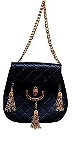 Classic Quilted Black Vegan-Leather Gold Chain and Fringe Tassel Women's Shoulder Bag, Crossbody Handbag, Evening Bag