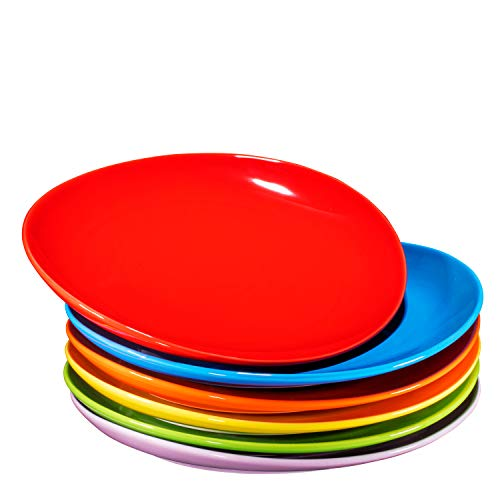 Pro-Grade 11' Curved Ceramic Restaurant Dinner Plates, Gradient Colors, Set of 6