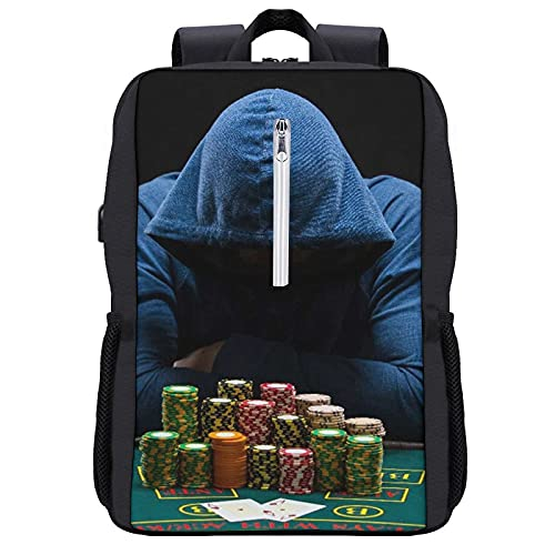 GKGYGZL Mochila de viaje,Hombre de juegos de azar Juego de mesa Casino Boy Head con sombrero de suéter que cubre el juego de pensamiento,Bolsa para negocios antirrobo delgada con puerto de carga USB
