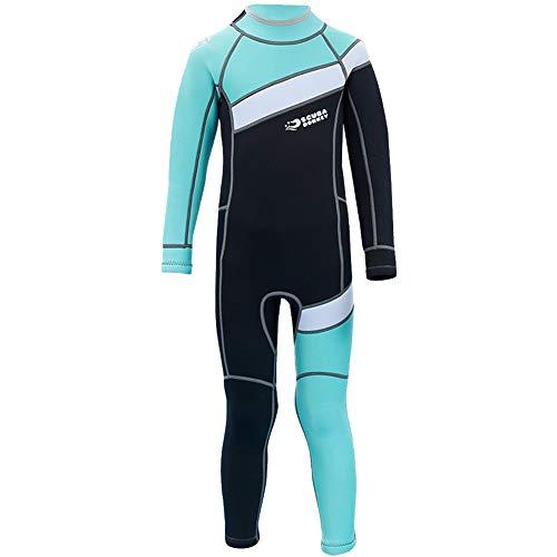 YFPICO Kinder Neoprenanzug Surfanzug 2.5MM Einteiler Langarm Badeanzug, Schwarz + Blaugrün, 152/158