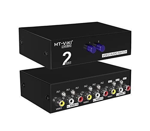 MT-VIKI 2 Port AV RCA Switch, 2 in 1 out Composite Video L / R Audio Umschalter Auswahlbox für DVD-Player, SNES , N64, PS2 / 3 Spielekonsolen