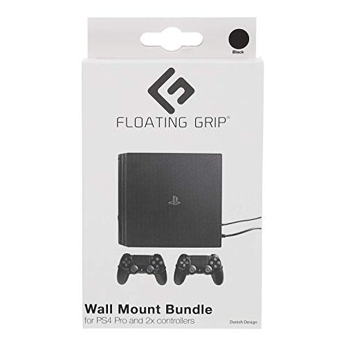 FLOATING GRIP Wall Mounts for 1x Playstation 4 Pro (PS4 Pro) + 2X Controllers | Black Ropes | Display or Hide Your PS4 Pro on The Wall in The Super Slim but Ultra Strong Wall Mount by FLOATING GRIP