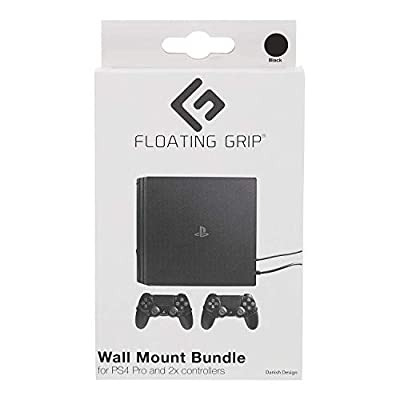 FLOATING GRIP® mounts for PS4 Pro, bundle package for PlayStation 4 Pro and controllers, vertical rope wall mounts (black), Patent pending and proprietary design, Made in Denmark from FLOATING GRIP Trading ApS