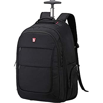 OIWAS Rolling Backpack with Wheels for Women Men Wheeled Laptop Backpack Work Large Student College Computer Bag Business Travel Carry on Luggage Bag Trolley 15.6 Inch Notebook 30L Black