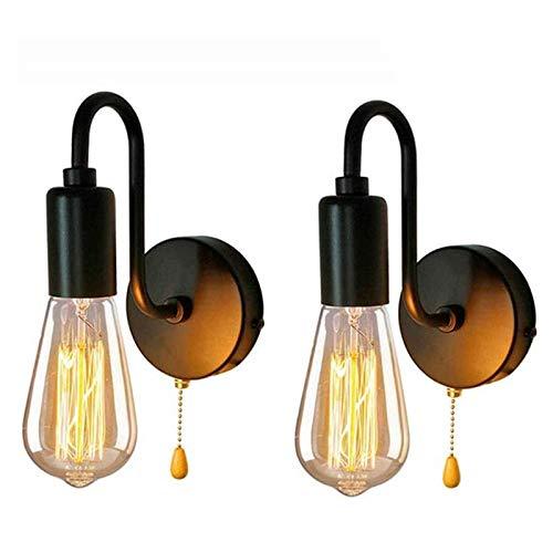 2 Pack Wandlampe Retro Industrial Wandleuchte mit Zugschnur Schalter, E27 Innen Leseleuchten Wandstrahler Metall Schwarz Nachttischlampe Wandspot Lampe für Schlafzimmer Wohnzimmer Veranda Korridor
