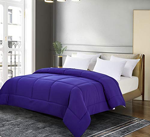 Blue Ridge Home Fashions Two-Tone Reversible Microfiber Down Alternative All Season Comforter-Hypoallergenic Polyester Fill, Full/Queen, Purple/Violet