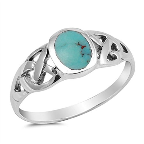 Blue Apple Co. Oval Simulated Stabilized Turquoise Celtic Wedding Ring Solid 925 Sterling Silver Stone Ring Band