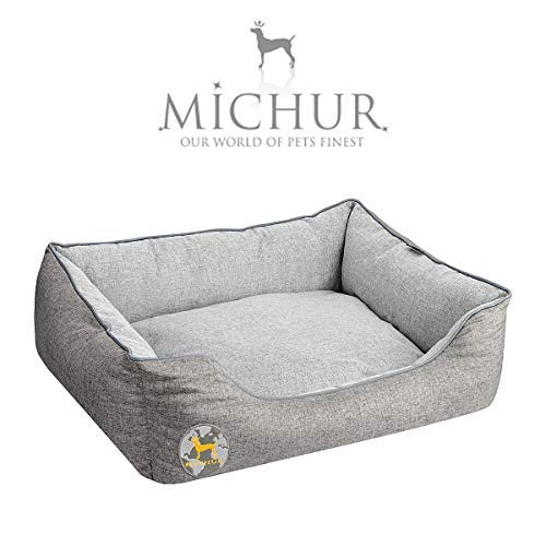 Michur Hundebett Rolf, waschbares Tier Sofa für Katzen und Hunde in edlem grau, mit beidseitig anwendbarem Kissen, Hundekörbchen, Hundesofa, Hundekissen, Hundekorb, 65 cm x 55 cm x 18 cm