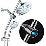 Spa Station 34' Drill-Free Slide Bar with 48-setting Antimicrobial Showerhead Combo & LED Temperature Display / 3-way Rain & Handheld Shower Head - Height Extension Arm - Stainless Steel Hose - Chrome