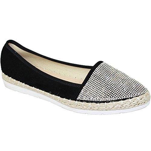 Fantasia Boutique ® JLY041 Hudson Dames Faux Suede Diamante Voor Casual Espadrilles Platte Schoenen