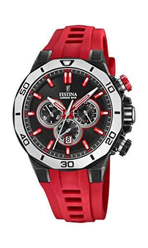 Festina Unisex Erwachsene Chronograph Quarz Uhr mit Silikon Armband F20450/3